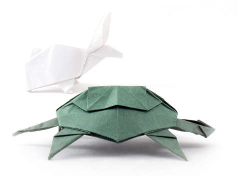 Origami tortoise and hare