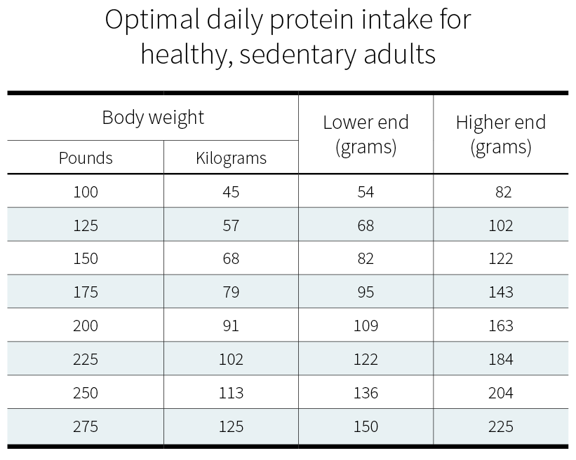 Optimal daily protein intake for healthy sedentary adults