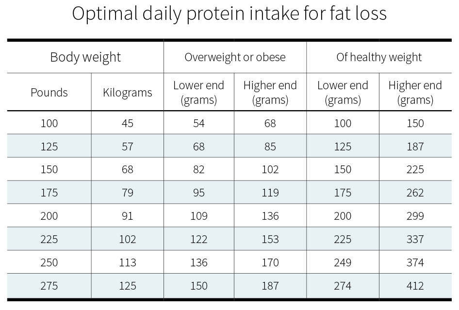 Optimal daily protein intake for weight and fat loss