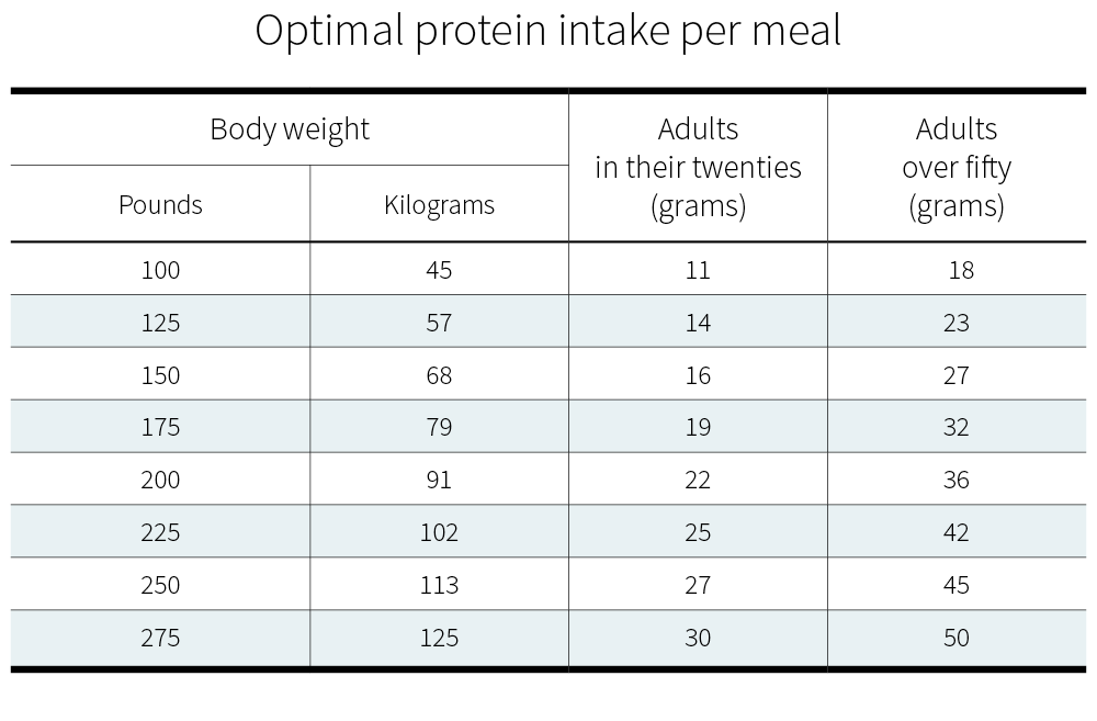 Optimal protein intake per meal